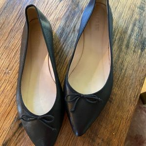 J Crew Ballet Flats. Black Leather